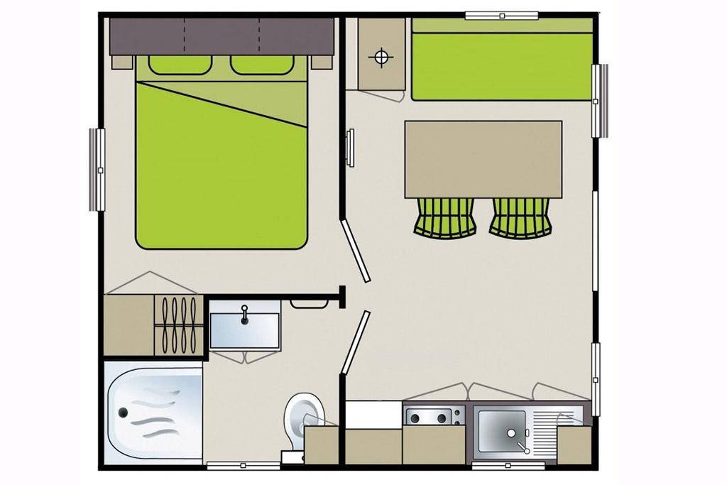 Plan de mobil-home 1 chambre