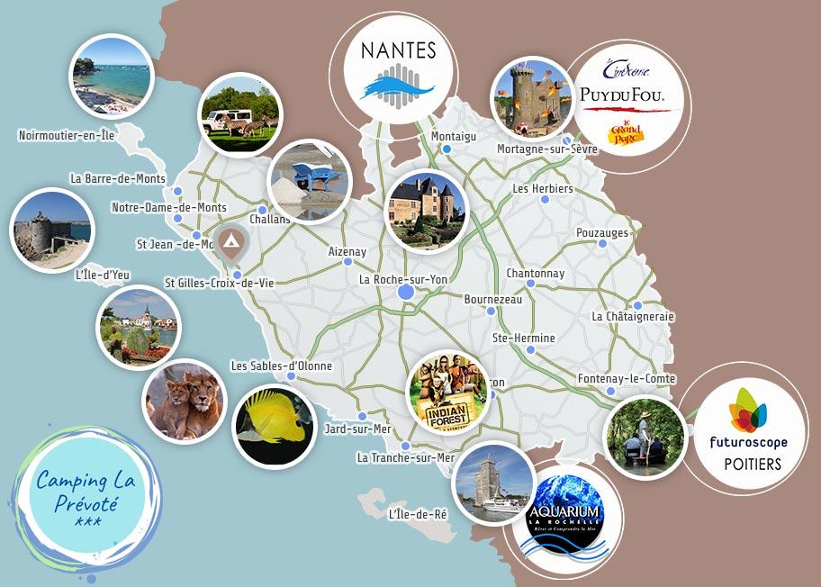 Carte de la Vendée autour du camping
